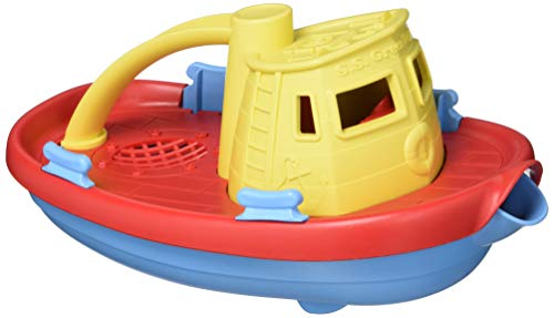 Green Toys Tugboat, Yellow/Red/Blue CB - Pretend Play, Motor Skills, Kids Bath Toy Floating Pouring Vehicle. No BPA, phthalates, PVC. Dishwasher Safe, Recycled Plastic, Made in USA.
