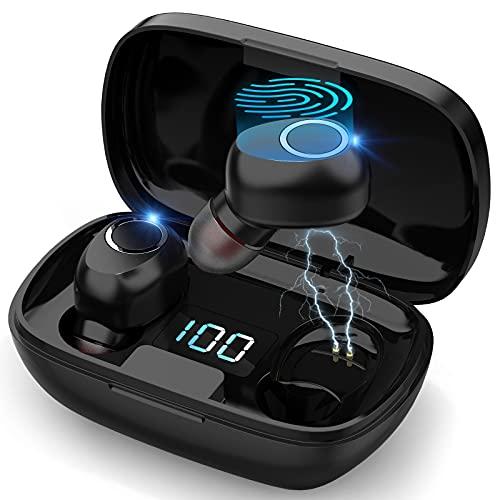 TYC Audífonos Inalámbricos, Audífonos Bluetooth Inalámbricos, Mini Audífonos Deportivos Impermeables y con Reducción de Ruido, Emparejamiento en un solo paso, Alta Calidad y Fidelidad de sonido sin pérdidas, audífonos para juegos y entretenimiento, con interfaz de micrófono, Se pueden usar para: Escuchar Música mientras corre, Ver Videos, Hablar Por Teléfono(Garantía de un año)