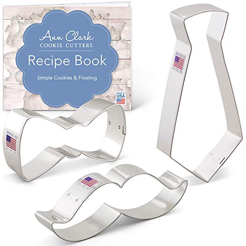 Ann Clark Cookie Cutters 3-Piece Little Man Cookie Cutter Set with Recipe Booklet, Bow Tie, Mustache and Necktie