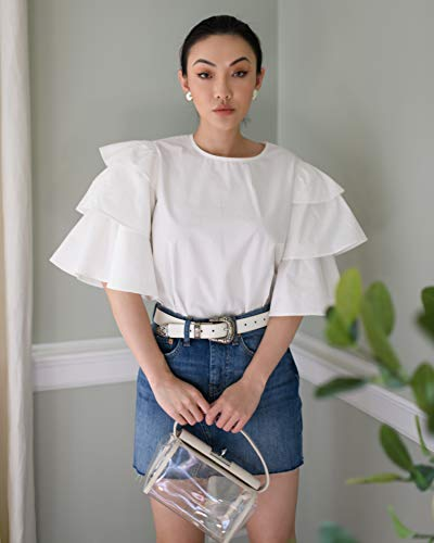 The Drop Women's Cloud White Crewneck Tiered ruffle Sleeve Top by @jessicawang
