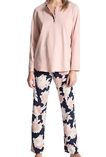 Calida Damen Soft Jersey Fun Lang Pyjama, Rosa (Peach Rose 220), 44 (Herstellergröße: M)