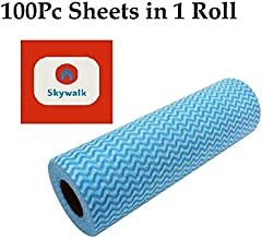 Skywalker Reusable Super Absorbent Cleaning Wipes Paper Towel Roll for Kitchen (250 x 300 mm) -100 Sheets