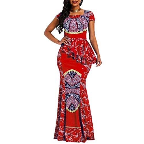 VERWIN Afrikanisches Kleid mit Flügelärmeln und quadratischem Ausschnitt, bodenlang, geometrisches Meerjungfrauen-Maxikleid (Large, Rot)