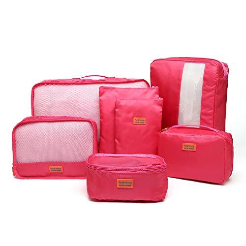 クロース(Kroeus)トラベルポーチ アレンジケース 7点セット 旅行 出張 衣類ケース シューズバッグ 洗面用具入れ PC周辺小物ポーチ 巾着袋 ピンク