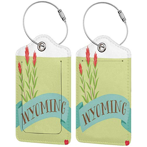 WINCAN Luggage Tag with Privacy Cover,Lovely Design Illustration with Name On Ribbon and State Flower,Baggage Labels, Suitcase ID Tags for Travel Suitcases Handbags,(2 Pack)