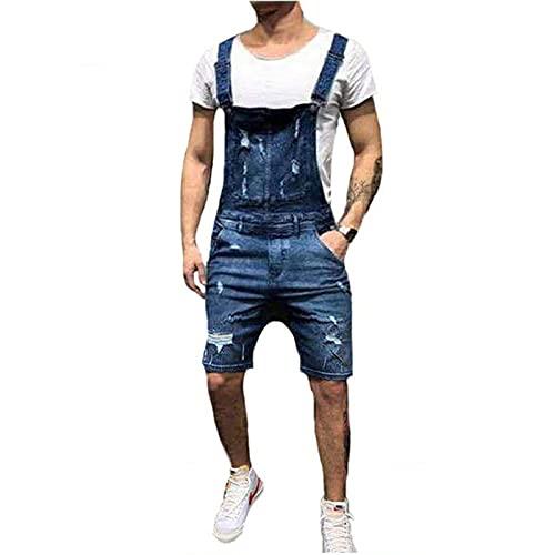 Livingsenburg Hombres Pantalones de Mezclilla Casual Retro Combat Cargo Bib Overoles Pantalones Cortos Jeans Peto Vaquero de Mono para Hombre Trabajo Jumpsuit (Azul 2, S)