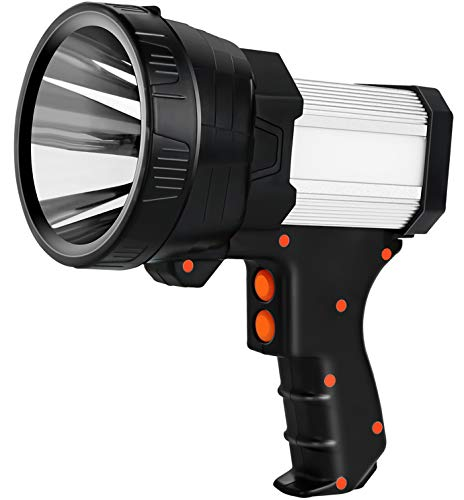 Mo.tools Rechargeable spotlight,Super Bright 6000 Lumens LED Searchlight Handheld,Foldable Tripod and Storage Bag,Flashlight Power Bank Function Outdoor spotlight flashlight Camping Flood searchlight