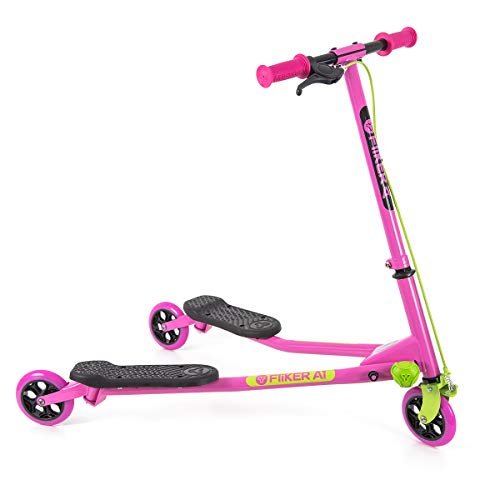 Yvolution B07DXZ8Y3P Y Fliker Air A1 Swing Wiggle Scooter | Three Wheels Drifter for Boys and Girls Age 5 Years Old and Up (Pink/Green), Medium