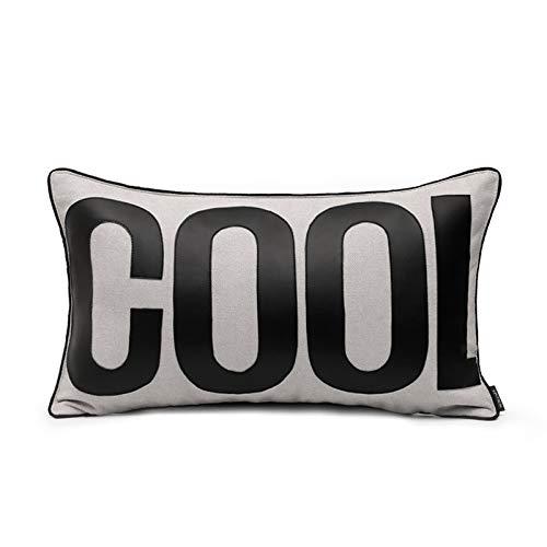 Cushion Covers English Alphabet Splice Bedroom Sofa Decoration Rectangular Pillowcase Gray 50X30Cm With Core