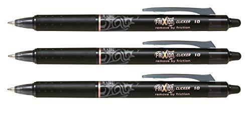 Pilot Frixion Clicker 1.0 - Juego de 3 accesorios, color negro