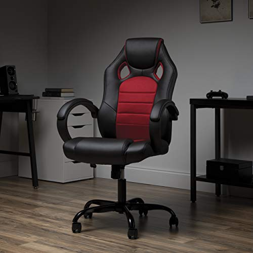 OFM Gaming Chair, Padded Loop Arms, High-Back, Red