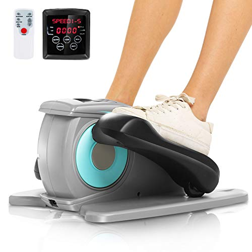 ANCHEER Under Desk Electric Mini Elliptical Machine, Remote Control Portable Exercise Elliptical Trainer with Large Pedal, LCD Monitor Compact Trainer for Home & Office Gym(Gray)