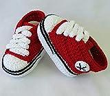 Patucos para Bebé Recién Nacido tipo Converse, 0-3 meses Rojo. Handmade....