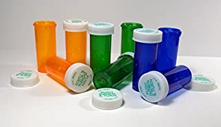 Plastic Prescription Green-Amber-Blue Mix Vials/Bottles 25 Pack w/Caps Larger 16 Dram Size-New