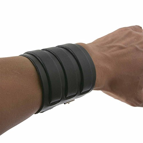 HZMAN Black Leather Wide Triple Strap Cuff Wrap Gauntlet Wristband Buckle Fastening Arm Armor Cuff (Black)