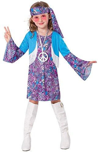 Chaks C4158116, Déguisement Hippie Bleue Fille 116cm, 4-6 Ans