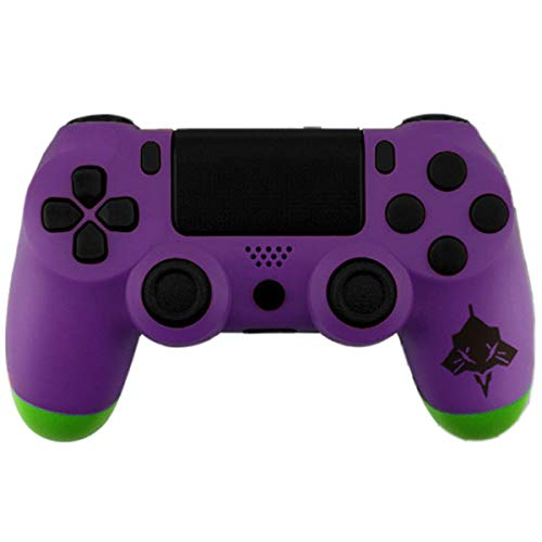 Matt Finish Full Housing Shell Case Cover Mod Kit Replacement for PS4 SLIM PS4 PRO Controller(Model JDM-040) Including Front Faceplate Bottom Shell Buttons DIY Custom Free Sticker Tools Purple Green