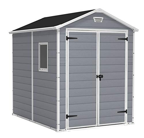 Keter Manor Outdoor Plastic Garden Storage Shed, Grey, 6 x 8 ft