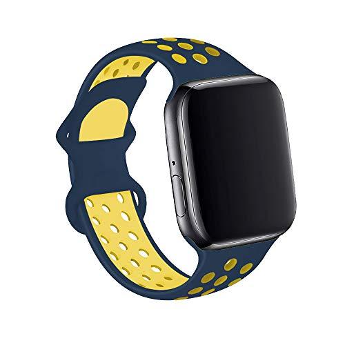 Gizget - Cinturino in silicone compatibile con cinturini per orologi da 38 mm, 40 mm, 42 mm, 44 mm, per iWatch Series 6, SE 5, 4, 3, 2 1 (42 mm/44 mm, S, colore: Blu notte giallo)