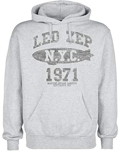 Led Zeppelin LZ College Hombre Sudadera con Capucha Gris M