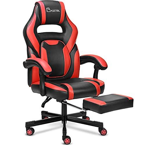 BASETBL Gaming Stuhl,PC Gamer Racing Stuhl Bürostuhl Schreibtischstuhl mit fußstützen Ergonomischer Gaming Sessel,Verstellbare Armlehne Bürostuhl Gaming Stuhl bis 150kg belastbar(Rot)