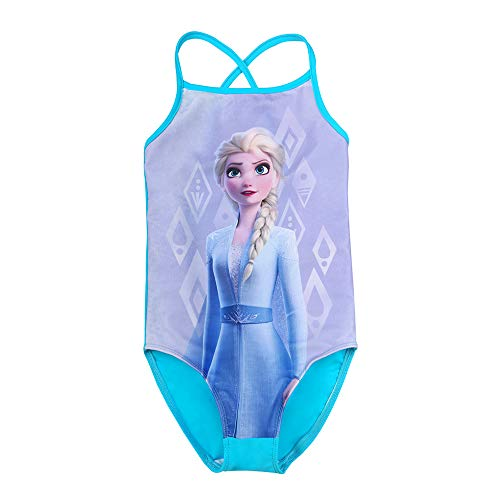Disney Mädchen Die Eiskönigin, ELSA Badeanzug, blau, Größe 128, 8 Jahre