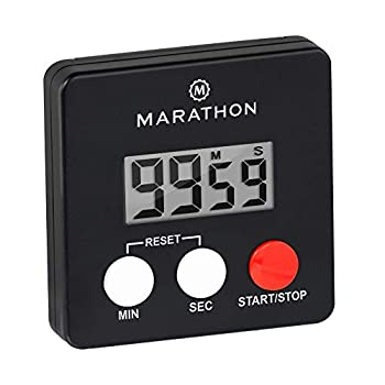 MARATHON TI080006-BK Digital Kitchen Timer with Big Digits Loud Alarm Magnetic Back with Clip and Stand-Black Batteries Included
