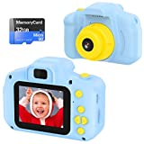 Cámara Digital para Niños Juguetes de Niña Regalos para Niños Pantalla HD de 2 Pulgadas 1080P Tarjeta de 32GB TF Regalos de Juguete para Niños de 3 a 12 años de Niños y Niñas Cumpleaños … (azul)