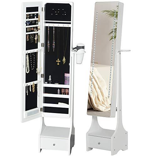 HOMCOM LED Schmuckschrank 2 in 1 Schmuckregal Spiegelschrank mit Schublade MDF Weiß 37 x 30 x 158 cm