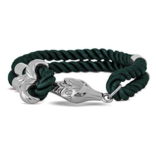 Akitsune Vulpes Armband | Armschmuck Frauen Herren Edelstahlverschluss Nylonband Fuchs Anker - Silber - Grün 18,5cm