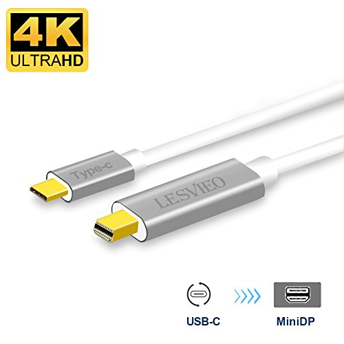 USB-C to Mini Displayport,Lesvieo 4K@60Hz 6FT USB C (Thunderbolt 3) to Mini DP Cable,Male to Male,Only DP Alt Mode,for 2017/2016 MacBook Pro,Chromebook Pixel,Surface Book 2,Samsung Galaxy S8/S8+