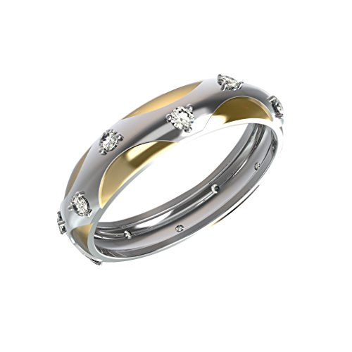 JewelsForum 0.10Cts Diamante Natural Sólido 10K Oro Anillos De Banda De Aniversario De Boda Clásicos Para Mujeres Joyería De Uso Diario Ajuste 3 Mm De Ancho