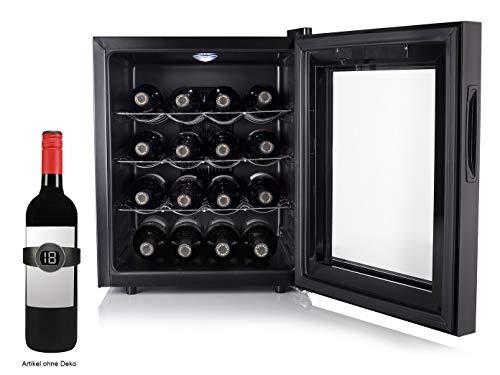 Armario de vino pequeño para 16 botellas con termómetro de vino – Armario para vino de 48 litros, pantalla LED y función táctil