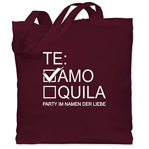 Shirtracer JGA Junggesellenabschied Frauen - Teamo/Tequila - weiß - Unisize - Bordeauxrot - Geschenk - WM101 - Stoffbeutel aus Baumwolle Jutebeutel lange Henkel