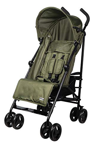 Ding GoGo Kinderwagen, Reisebuggy, Buggy mit Liegeposition, zusammen faltbar, mit Sonnenschutz und Einkaufskorb, ab 6 Monaten, grün