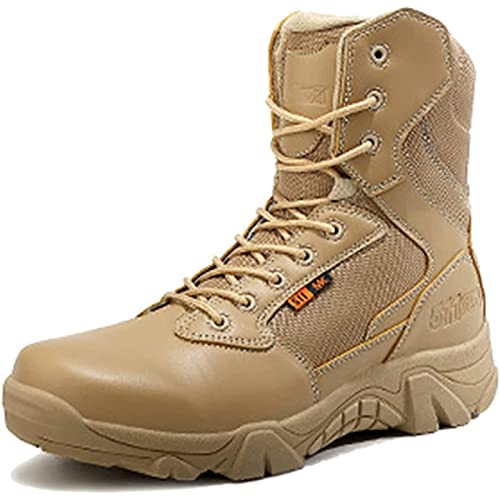 Tactical Boots for Men, MJH-01 Men's Waterproof Combat Boots High-top Lace-Up Breathable Military Army Safety Boots Durable Work Shoes Lightweight Outdoor Hiking Walking Boots