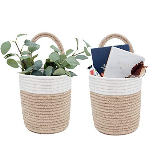 Signature Home 2pc Hanging Basket, Small Basket 7.9' x 6.7' Hanging Baskets for Organizing, Cotton Rope Wall Basket, Woven Baskets, Wall Hanging Storage Basket, Rattan Wall Decor, Mini Basket (Jute)