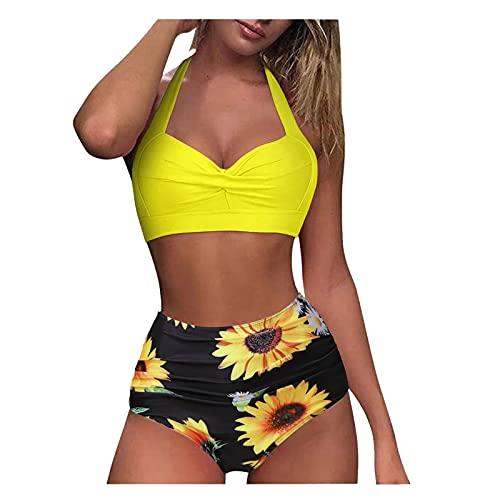 YAOBF Badeanzug GrößE Schwarzer Push Up Bikinis Zweiteilig Strandkleidung O Neil Tankini Auf HauchdüNnen Mesh-Bikini (Gelb 1,M)