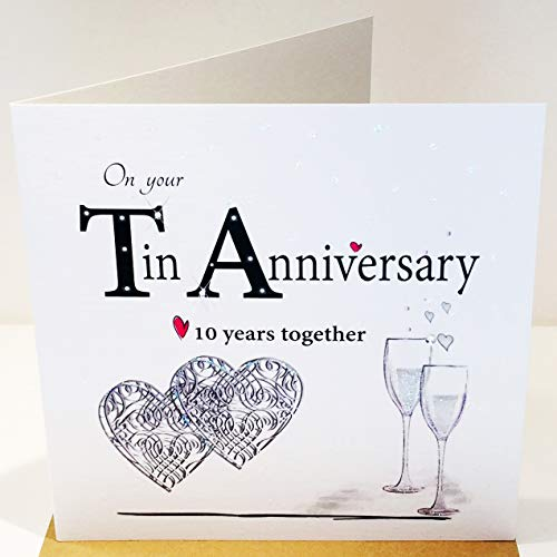 Rush Design On Your 10th Wedding Anniversary Card - 10 Years Together - Tin - 6 x 6 Inches