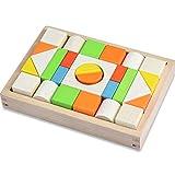 積み木 28 PCS 木製 ブロック モンテッソーリ 木のおもちゃ 天然 カラフル 組立 3歳から 立体パズル 建物構造 GYBBER&MUMU 木箱付き (カラフル_28個)