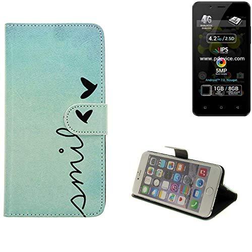 K-S-Trade® Schutzhülle Für Allview P4 Pro Hülle Wallet Case Flip Cover Tasche Bookstyle Etui Handyhülle ''Smile'' Türkis Standfunktion Kameraschutz (1Stk)