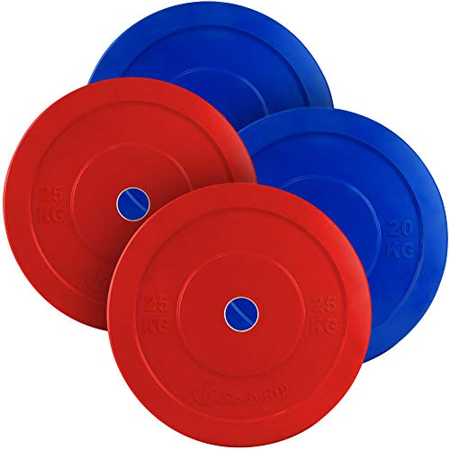 BodyRip 2' Olympic Bumper Weight Plates | Military or Bench Press, Squats, Deadlift, Pullover, Biceps Curl, Triceps Extension, Row, Shrug | Set of 90kg (Pair of 20kg, and 25kg)