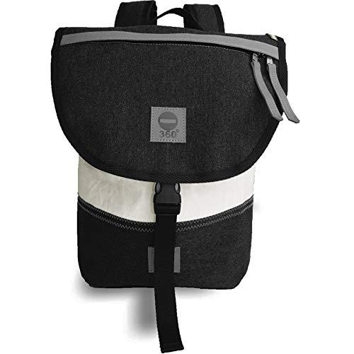 360° Grad Rucksack, Sonder-Edition Graphit, Damen-Tasche, Landgang Mini Segeltuchtasche weiss anthrazit, maritim, wasserdicht