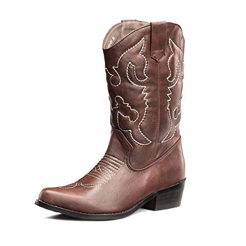 SheSole Damen Cowboy-Stiefel aus Leder - gefütterte Westernstiefel für Damen, hochwertige Damen-Boots mit breiter Schuhform, Braun, 42 EU Weit