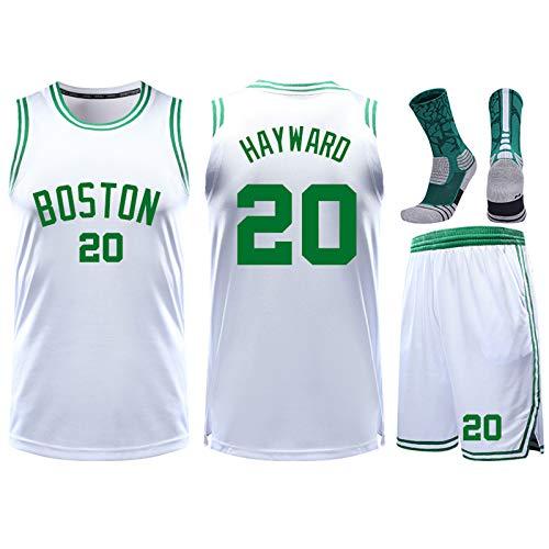 GBY Boys Basketball Uniform Suit, Celtics No.20 Hayward Basketball Uniform, Coach Fitness T-Shirt/Shorts/Socks×1, 3XS-M White-S