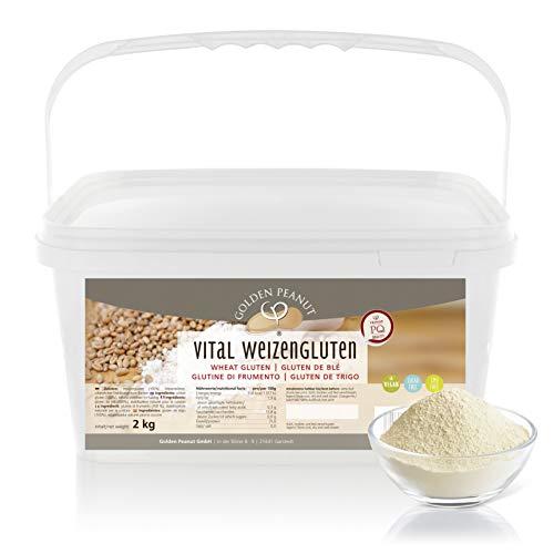 Vital Weizengluten 2 kg natürliches Verdickungsmittel rein pflanzlich | Weizeneiweiß| kalorienarme Speisestärke | Backen und Kochen | Golden Peanut
