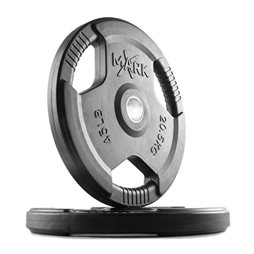 XMark TRI-Grip 45 lb Pair Olympic Plates, One-Year Warranty, Olympic Weight Plates, Classic Design, Rubber Coated Olympic Weight Plate Set, Olympic Barbell Weight Set for Home