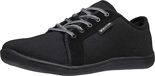 WHITIN Men#039s Knit Barefoot Sneakers Wide fit Arch Support Zero Drop Sole Minimus Casual Size 95 Minimalist Tennis Shoes Fashion Walking Flat Lightweight Skateboarding Male Black 42