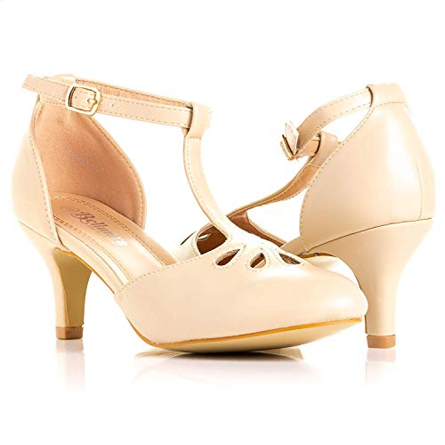 Bellmora Women's Jamie-01 Vintage Round Toe T-Strap Mary Jane Costume Dress High Heel Swing Shoe with Sexy 3' Heel for Every Flapper (Nude, 9 M US)