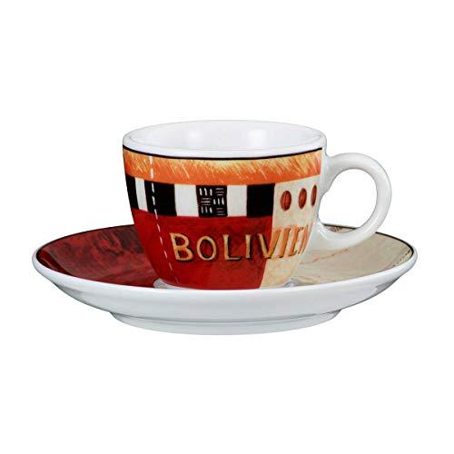 Seltmann Weiden 001.648051 VIP. Bolivien Espressotasse 0,09 L mit Untertasse, Rot/Orange/Schwarz